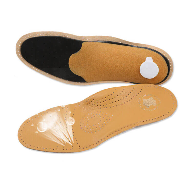 New Soft Arch Support Corrective Cowhide Leather Shoes Insoles
