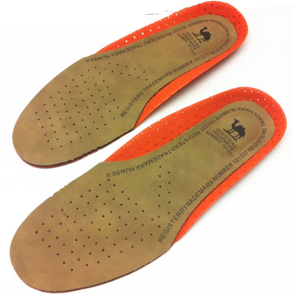 Camel Leather Shoe Insoles EVA Shoe Insert for Sports Brown